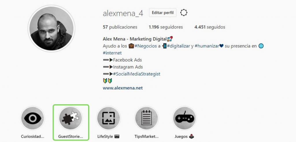 Bio Alex Mena Instagram